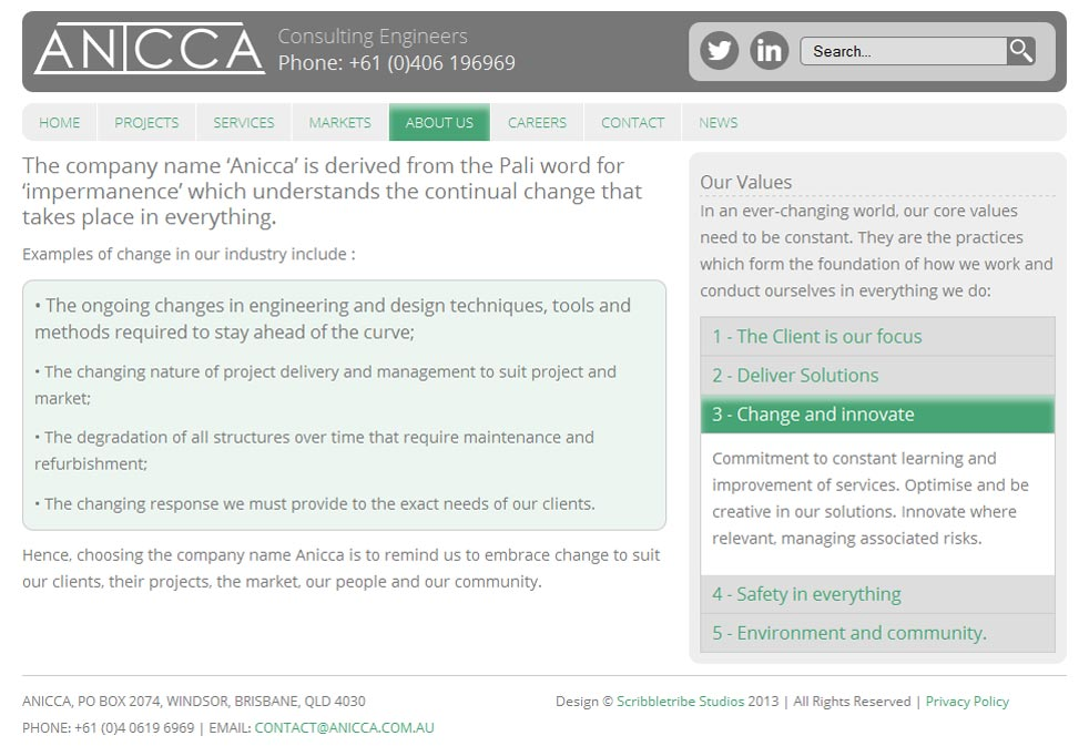 Anicca Engineering About Us Page