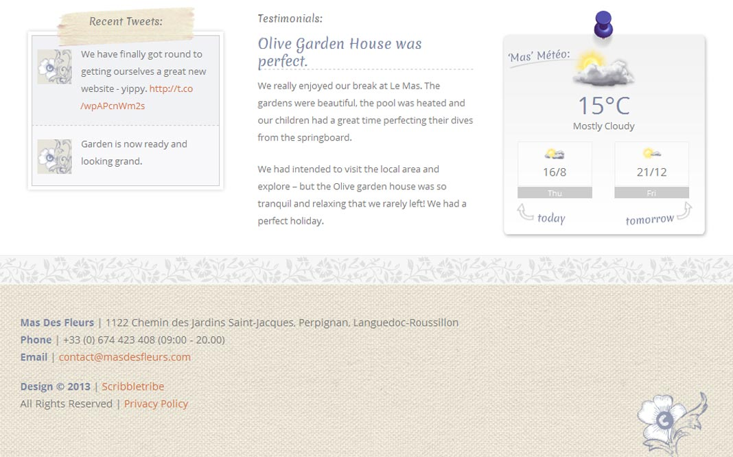 Mas Des Fleurs Home Page Footer