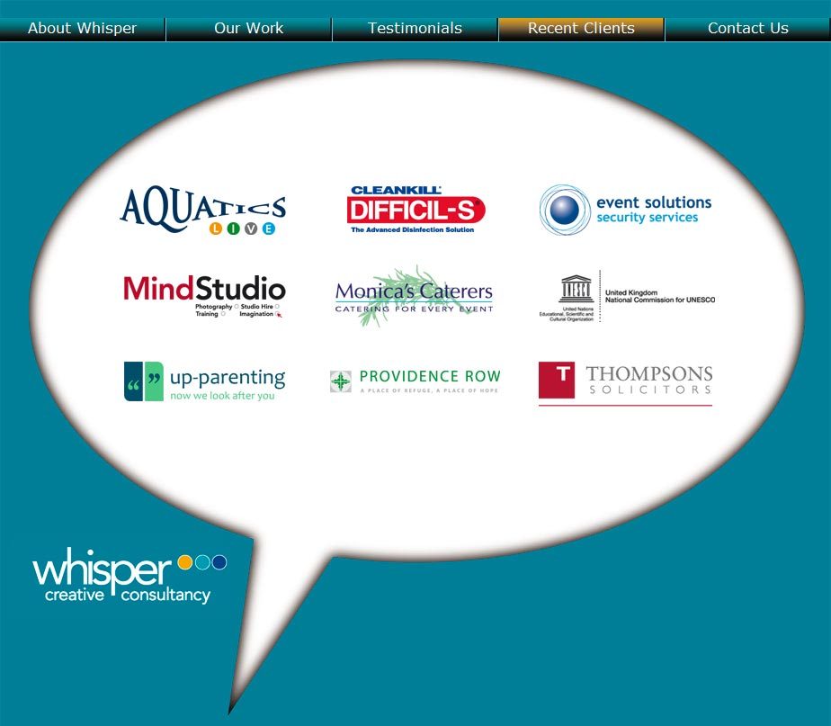 Whisper Creative Consultancy Clients Page